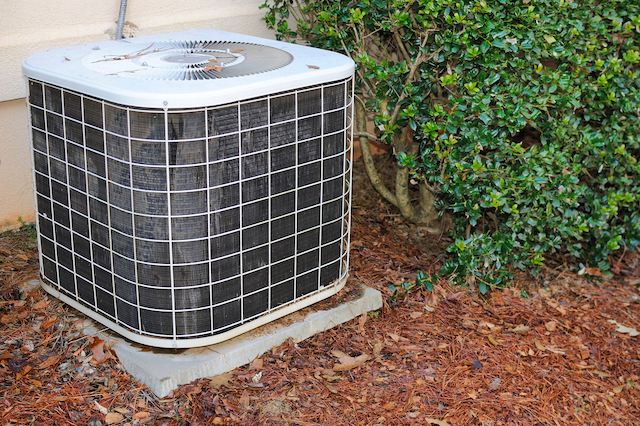 An HVAC unit outside of a home